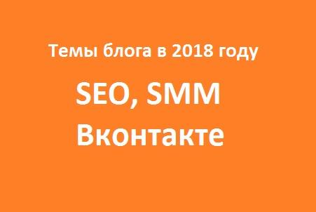 SEO в 2018 году и темы блога